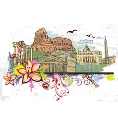 Rome doodles with floral vector