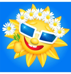 Smiling shines sun in glasses vector