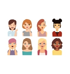 Woman emoji face icons vector