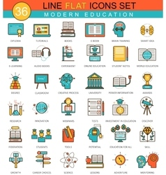 Modern online education flat line icon set vector