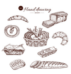 Bakery monochrome hand drawn set vector