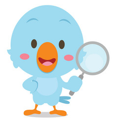 Blue bird with magnifying character vector