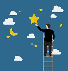 Businessman on the ladder trying to catch the star vector