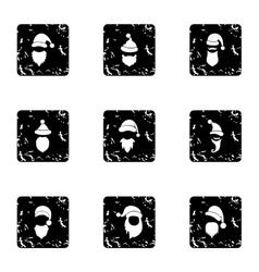 Christmas santa claus icons set grunge style vector