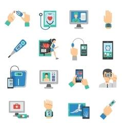 Digital health icons flat set vector