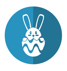 easter bunny in egg surprise shadow vector image