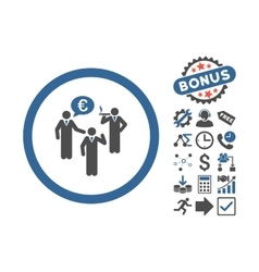 Euro Discuss Persons Flat Icon With Bonus vector image
