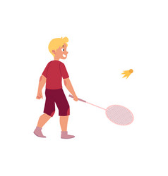 Flat boy playing badminton shuttlecock vector