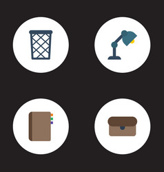 flat icons trash basket desk light suitcase and vector image