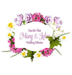 Floral bouquet of flowers for wedding card vector