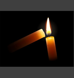 golden light candle lighting another one vector image