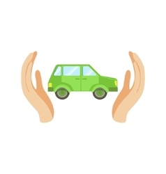 Green Car Protected By Two Palms vector image