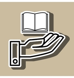 Hand and book open isolated icon design vector