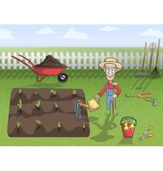 Happy gardener character at work vector image