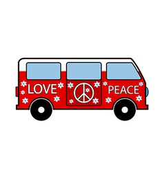 Hippie minibus vector