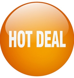 Hot deal orange round gel isolated push button vector