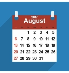 Leaf calendar 2017 with the month of august days vector