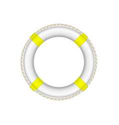 life buoy in white and yellow design with rope vector image