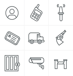 Line icons style security icons vector