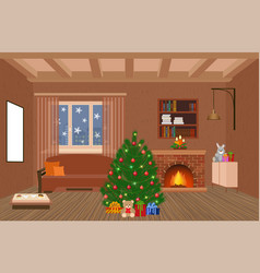 Living room interior holiday design with vector