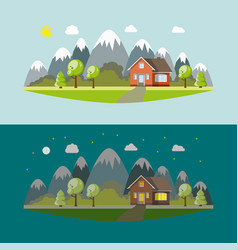 Lonely house in the mountains by day and night vector