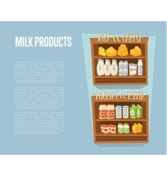 Milk products banner with supermarket shelves vector