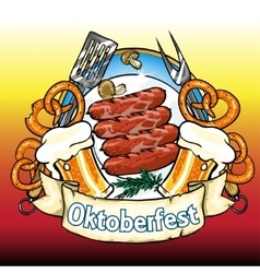 Oktoberfest label with beer pretzels and sausages vector image
