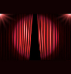 Opening stage curtains with bright projectors vector