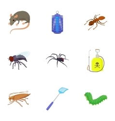 Pests icons set cartoon style vector