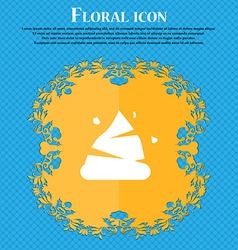 Poo icon sign floral flat design on a blue vector