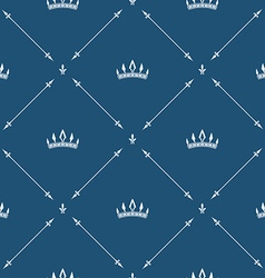 Royal wallpaper seamless pattern with crown and vector