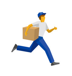 running delivery man holding carton box vector image