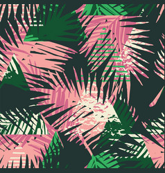 Seamless exotic pattern with tropical palm leaves vector