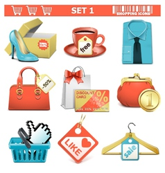 shopping icons set 1 vector image