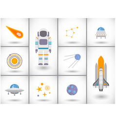 Space exploration flat icons set vector