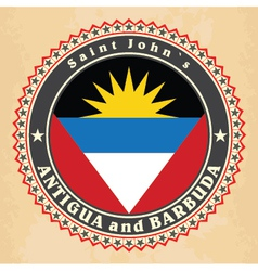 Vintage label cards of antigua and barbuda flag vector