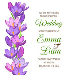 Wedding invitation spring crocus flower garland vector