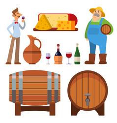 Winery making harvest cellar vineyard glass vector