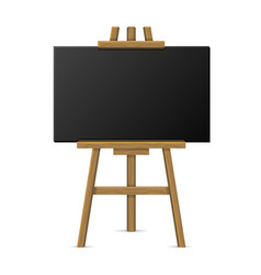 Wooden easel with blank chalkboard vector