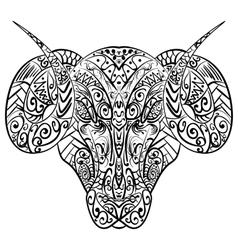 Zentangle stylized ram head vector image