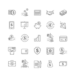 Money icons set UI money elements vector image