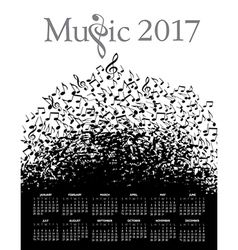 Music typographic 2017 calendar vector