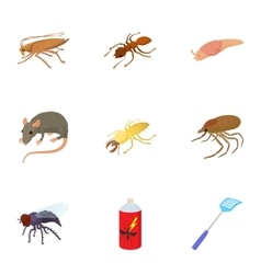Pests of homes icons set cartoon style vector