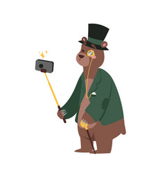 Funny picture bear photographer mamal person take vector