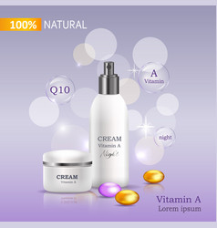 100 natural cream with vitamin c bank and spray vector