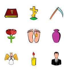 Memorial icons set cartoon style vector
