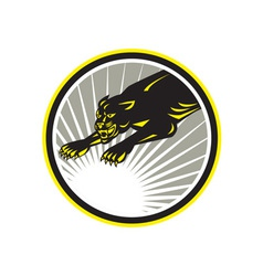 Panther big cat growling circle vector