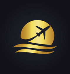 Gold airplane travel logo vector