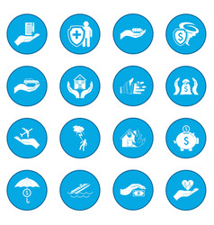 Accident insurance icon blue vector