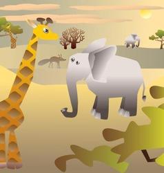 African Savannah and animals vector image